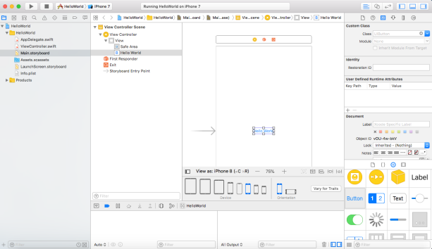 Fig 3-4 Xcode Interfact Builder Screen